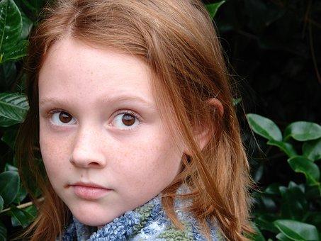 Apprehensive, Fleeting, Girl, Redhead, Nature, Outdoor