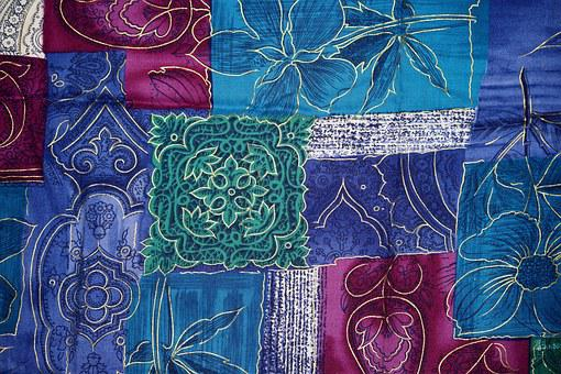 Background, Patchwork, Flowers, Blue, Purple, Turquoise