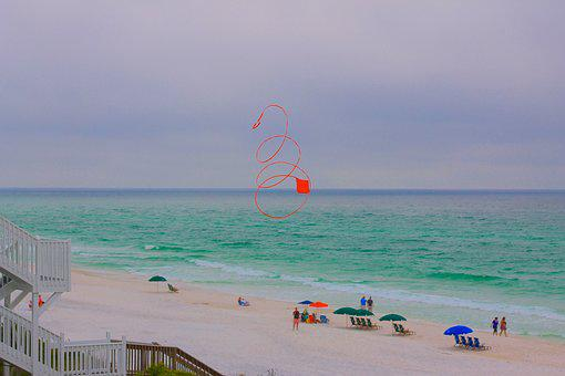 Beach, Kite, Red, Flying, Red Kite, Swirly Kite, Summer