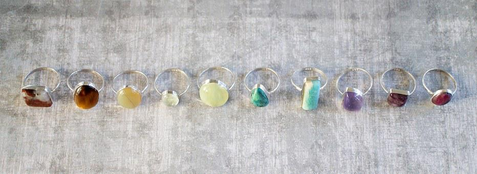 Colorful, Stone, Rings, Cabochon, Gemstones, Gems