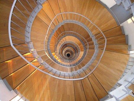Stairway, Wood, Snail, Spiral, Round, Look Down