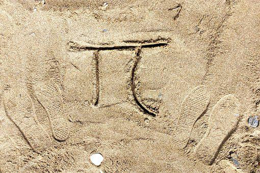 Number, Pi, Symbol, Sand, Drawing, Beach, Footprint