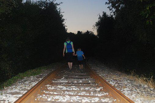 Dark, Walking, Railway, Boy, Woman, Mother, Son, Night
