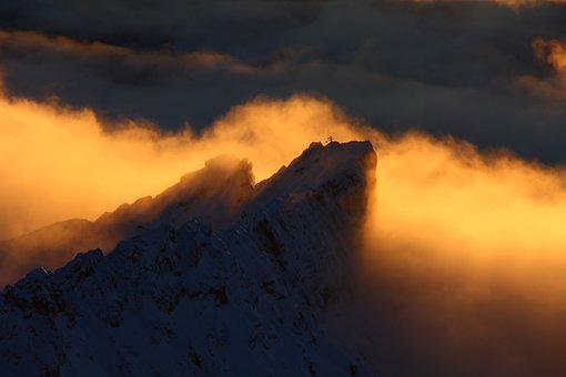 Zugspitze, Bavaria, Schneefernerkopf, Clouds, Panorama