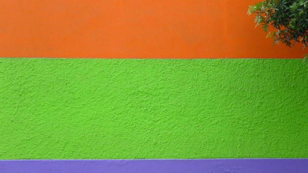 Wall, Color, Green, Orange, Violet, Bright, Texture