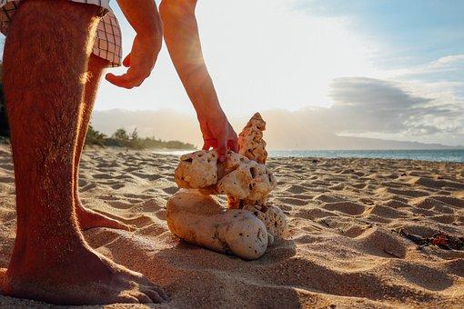San, Beach, Rocks, Yellow Sand, Hawaii, Maui, Water