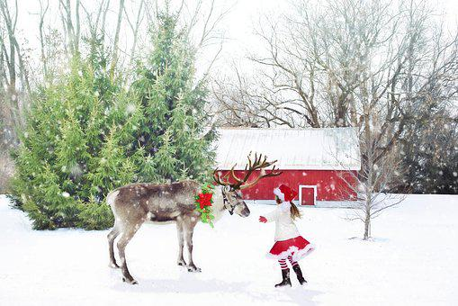 Christmas Scene, Reindeer, Little Girl, Santa Girl