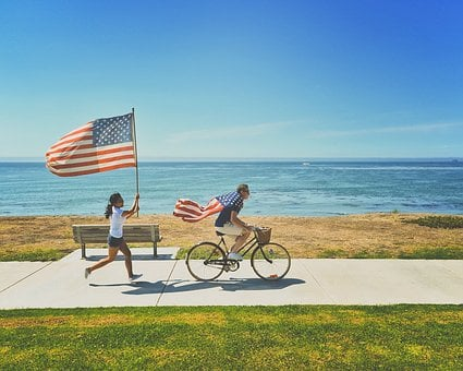 American Flags, Beach, Bench, Bicycle, Bike, Coast