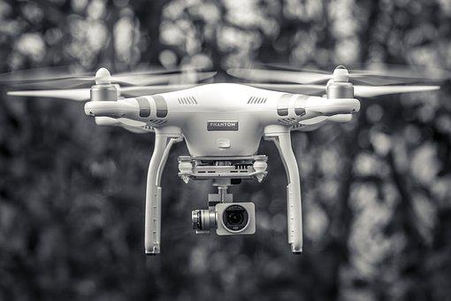 Black And White, Drone, Flying, Phantom