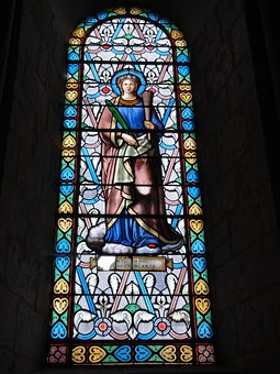 Basilica, Saint Eutrope, Saintes, France, Stained Glass