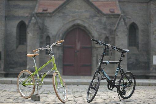 Church, Bike, Couple Models, Retro Ferry