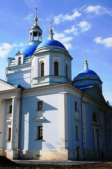 Convent, Cathedral, Domes Blue, Building, White