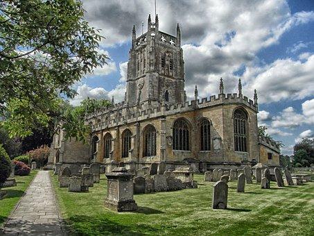 Fairford, England, Church, Cemetery, Architecture, Sky