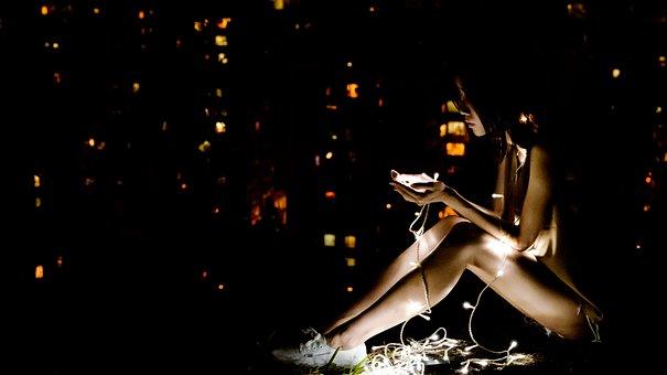 Dark, Illuminated, Lights, Person, Solo, Woman