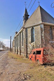 Church, Ruin, Desert, Auto, Abandoned