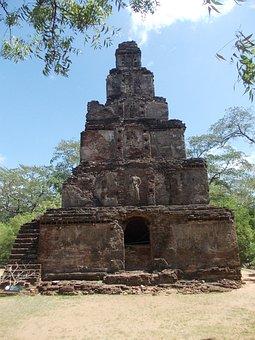 Ancient, Ruins, Sri Lanka, Polonnaruwa, Watadageya
