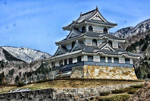 Fujihashi Castle, Japan, Historic, Landmark, Hdr