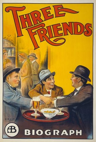 Film Poster, Poster, Three Friends, 1913
