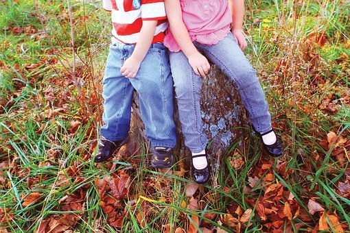 Kids Borther And Sister, Children, Autumn, Nature