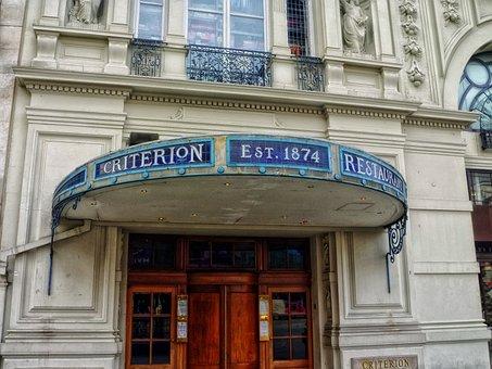 Criterion Restaurant, Sign, Building, Facade, Landmark