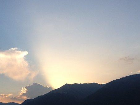 Rays Of Sunshine, Sunset, Sun, Sky, Ori, Horizon
