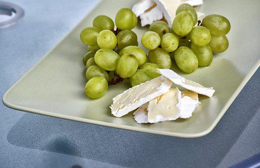 Grapes, Cheese, Brie, Snack, Vegetarian, Fruit, Healthy
