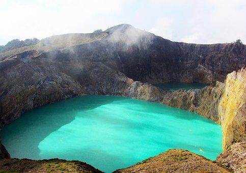 Kelimutu, Landmark, Blue, Crater, Indonesia, Turquoise