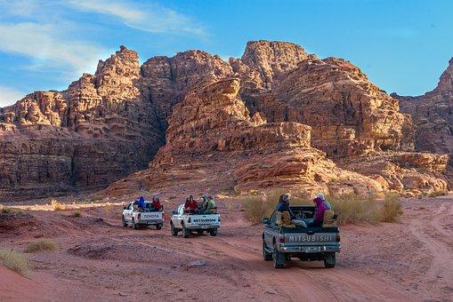 Jordan, Excursion, Desert, Cars, Mountain, Road