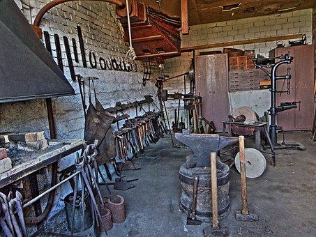 Forge, Workshop, Historically, Museum, Blacksmith
