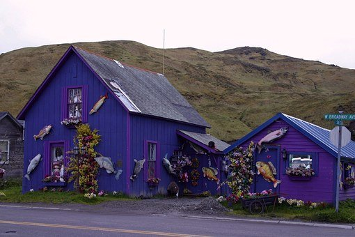 Dutch Harbor, Alaska, Mountains, House, Home, Purple