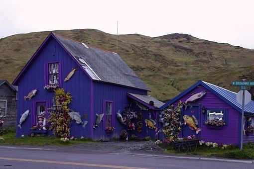 Dutch Harbor, Alaska, Mountains, House, Home, Purple