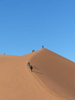 Sossusvlie, Dunes, Ascent, Tourists, Tourism, Desert