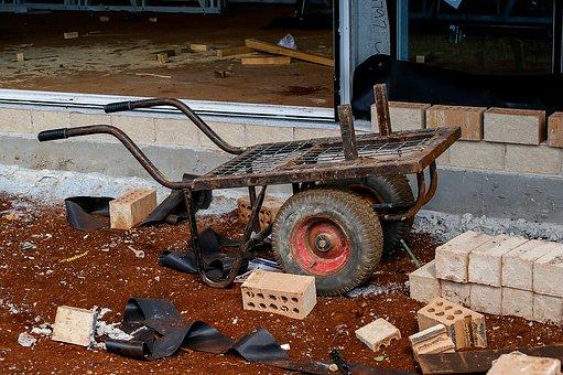 Cart, Bricks, Handcart, Building, Construction