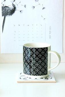 Mug, Work Desk, Calendar, Coffee, The Drink, White