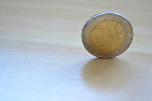 Euro, Money, Coins, 2 Euros, € Coin, Table, Coin
