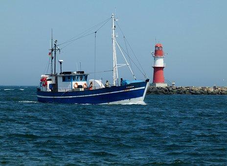 Cutter, Fishing, Warnemünde, Seafaring, Lighthouse