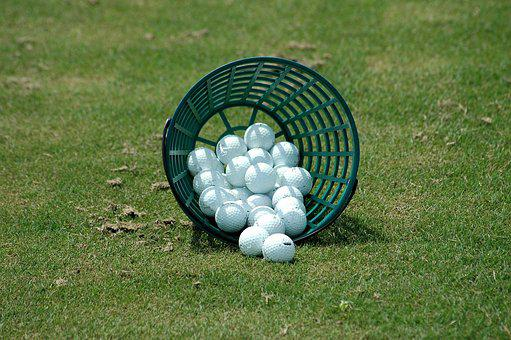 Golf Balls, Driving Range, Basket, Sport, Golf, Leisure