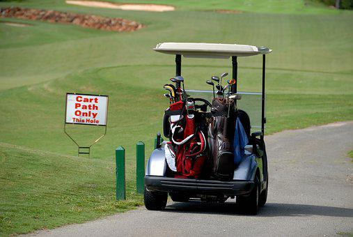 Golf Cart, Transportation, Golf Bags, Clubs, Sign