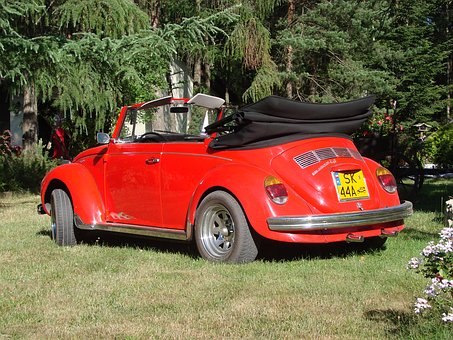Red, Vw, Version Of The Convertible, The Beetle