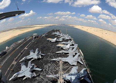Suez Canal, Water, Shoreline, Aircraft Carrier, Ship