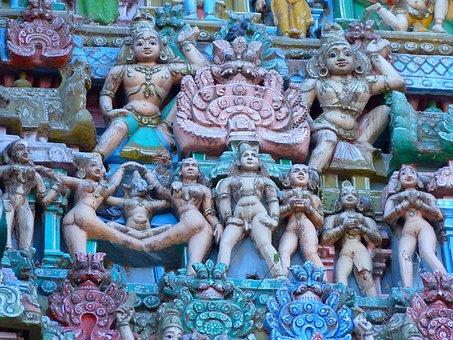 Temple Figures, Temple, Colorful, Vishnu