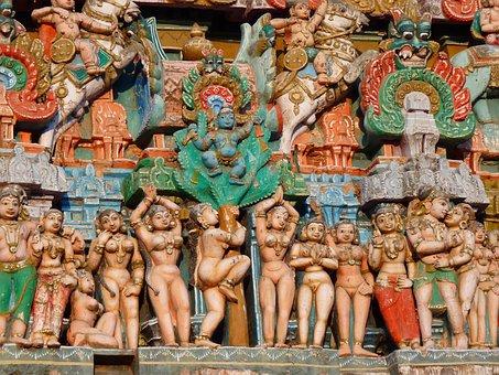 Temple Figures, Temple, Colorful, Vishnu, Kumbakonam