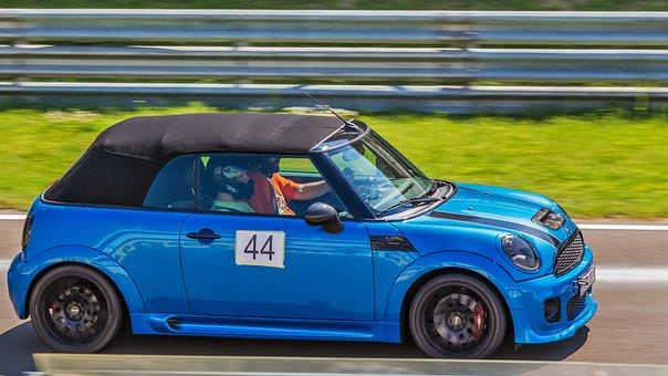 Car, Blue Car, Mini Cooper, Vehicle, Sports, Race