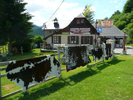 Mountain, Chalet, Cow Skins