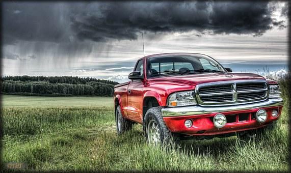 Dodge, Dakota, Sxt, Hdr, Storm, Rain, Field