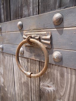 Knocker, Knock, Gate, Wood, Metal, Metalwork
