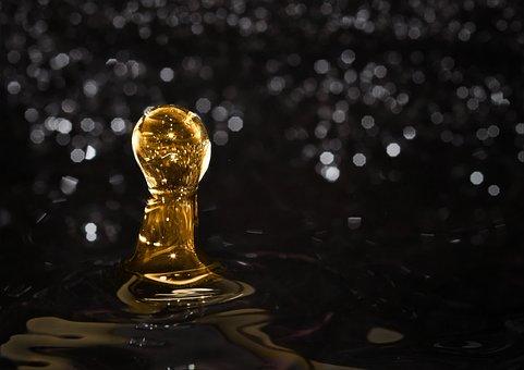 Water, Golden Drops, Drop Of Water, Drip