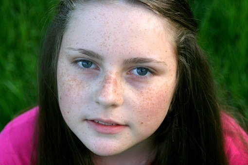Freckle Face, Portrait, Grass