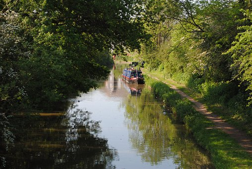 Barge, Canal, Waterway, Transport, Transportation