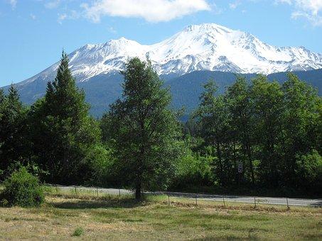 Mount Shasta, Trees, Blue, Green, Landscape, Mountain